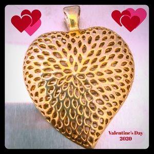 Jewelry - Pierced Golden Heart Slide Necklace Pendant